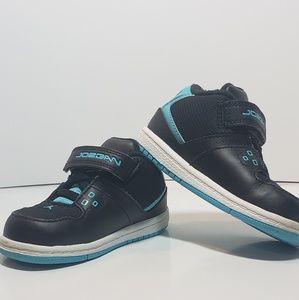 Kids Jordan 1 Flight Low (TD) Black/Gamma blue 7c